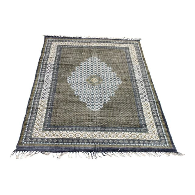 vivabita tapis avec franges style oriental plat bleu et vert isfahan 160 230 pas cher. Black Bedroom Furniture Sets. Home Design Ideas