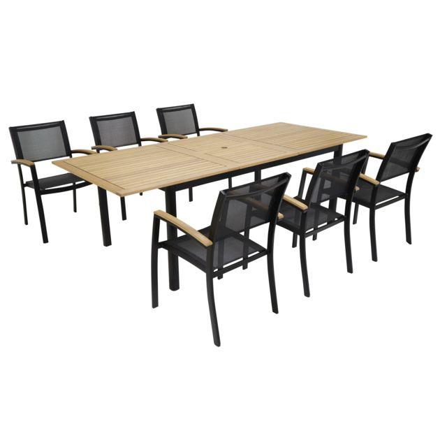 CARREFOUR - Table de jardin extensible Louga + 6 Fauteuil de jardin ...