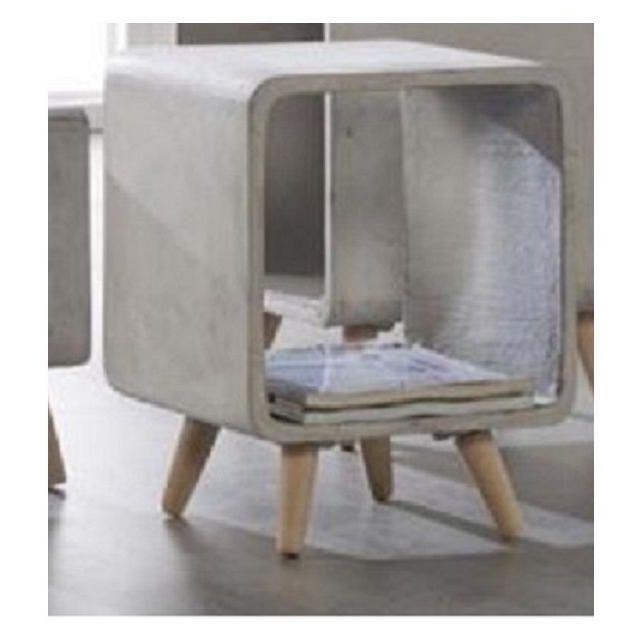 Inside 75 Table d'appoint Cuby design carré en beton grand modèle