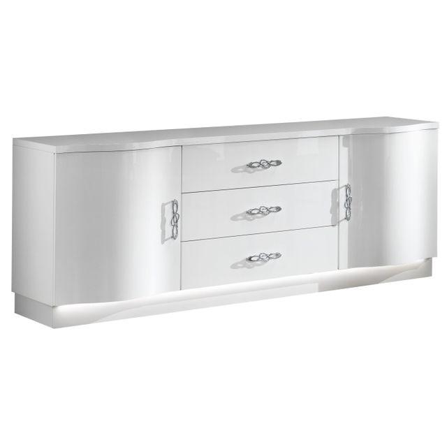 Comforium Bahut 2 portes et 3 tiroirs avec Led coloris blanc laqué