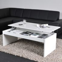 Bois Basse Rectangulaire Blanc Relevable En Table Darwin W9IE2DHY