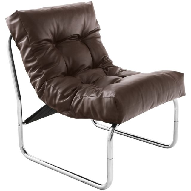 Kasalinea Fauteuil de relaxation marron design Pu et chrome Andreas4