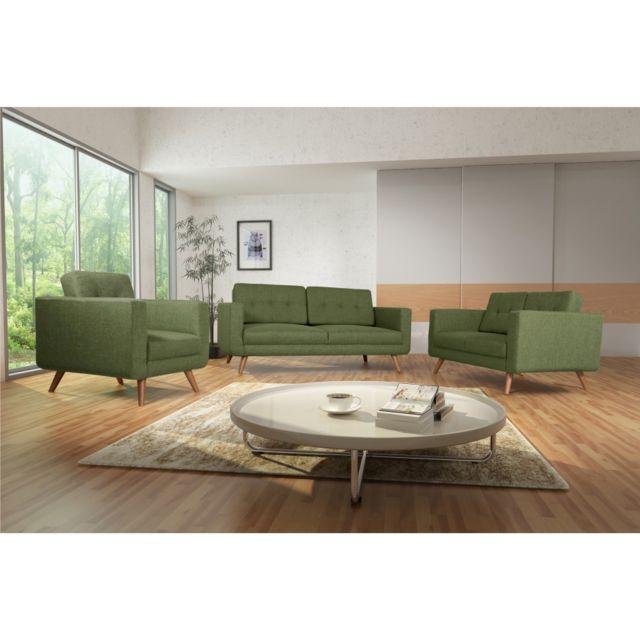 Rocambolesk Canapé Hedvig 3+2+1 savana vert 08 pieds naturels sofa divan
