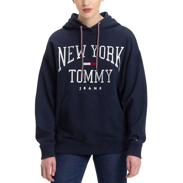 e9fbd5402c26a Tommy hilfiger - Sweat logo Nyc à capuche Bleu Marine - pas cher ...
