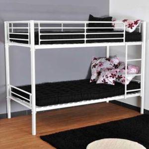 lits superpos s en 90x190 cm en m tal epoxy jerome pas cher achat vente lit enfant. Black Bedroom Furniture Sets. Home Design Ideas