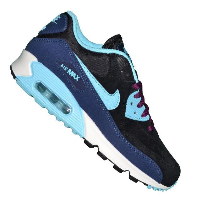 check out d9d4d 567af Nike - Basket - Femme Et Junior - Air Max 90 Leather 143 - Marine Noir  Violet Bleu - pas cher Achat   Vente Baskets femme - RueDuCommerce