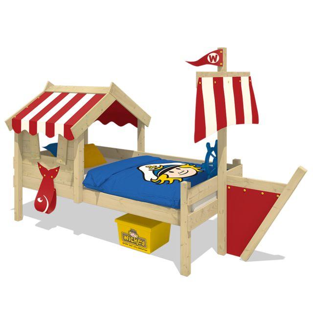 WICKEY Lit en bois pour enfant CrAzy Finny Lit cabane avec toit - rouge