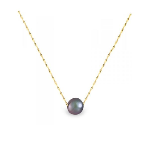 Blue Pearls Collier Femme Ras du Cou et Chaine Singapour Or jaune 750/1000 et Perle de Culture d'eau douce Noire - Bps 0247 W Noir