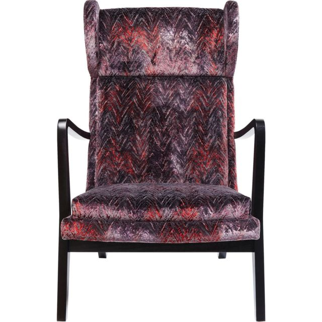 Karedesign Fauteuil Silence velours chevrons rouges Kare Design