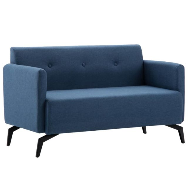 Chic Meubles famille Madrid Canapé à 2 places Revêtement en tissu 115x60x67 cm Bleu