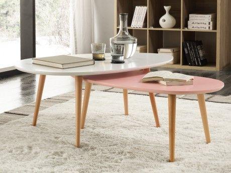 Marque Generique Tables basses gigognes Pamy - Mdf laqué & hêtre massif - Blanc & rose pastel