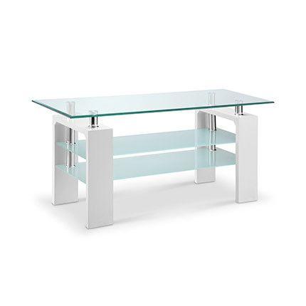 Meuble Tv 3 plateau verre décor blanc - Kimmy
