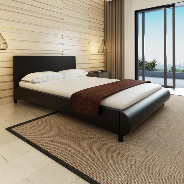 Rocambolesk Superbe Lit en cuir artificiel noir design courbé 140 x 200 cm + matelas neuf