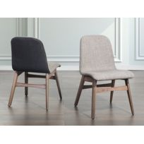 Beliani - Chaise de salle à manger - chaise en tissu - gris clair - Madox