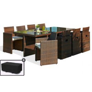dcb garden salon de jardin 8 places avec dossiers chocolat et housse de protection marron. Black Bedroom Furniture Sets. Home Design Ideas