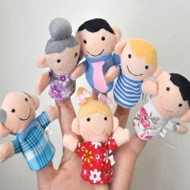 6 Pcs Enfants Marionnettes Théâtre Cadeau Dessin Animé Famille Doigt Peluche Tissu Jouet Poupées à La Main Livraison Couleur Aléatoire