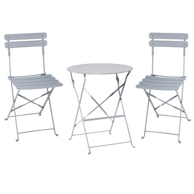 CARREFOUR - Table Bistrot ronde pliante - Taupe + 2 Chaises bistrot ...