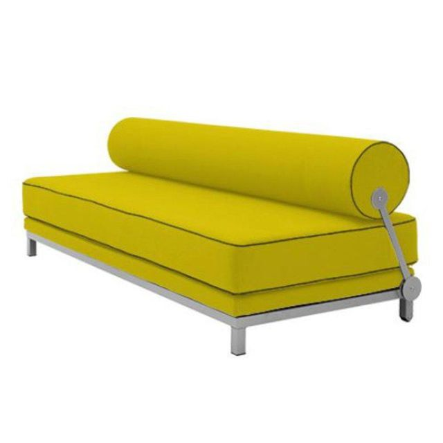 Inside 75 Canapé lit convertible design Sleep en tissu laine jaune structure aluminium Softline