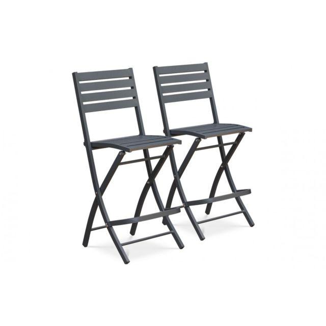 DCB GARDEN Lot de 2 chaises hautes de bar en aluminium ANTHRACITE