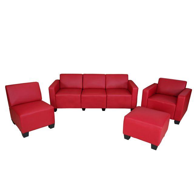Mendler Système de canapé modulaire Lyon, ensemble, simili-cuir, rouge