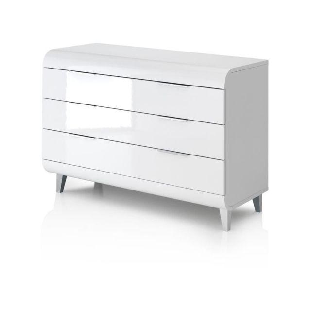 VEGA Commode 3 tiroirs - Style contemporain - Blanc laqué - L 100 x P 45 x H 70 cm