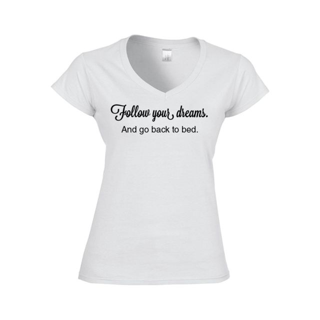 4a158f549f0b7 Mygoodprice - T-shirt Femme col V follow your dreams M Blanc - pas ...
