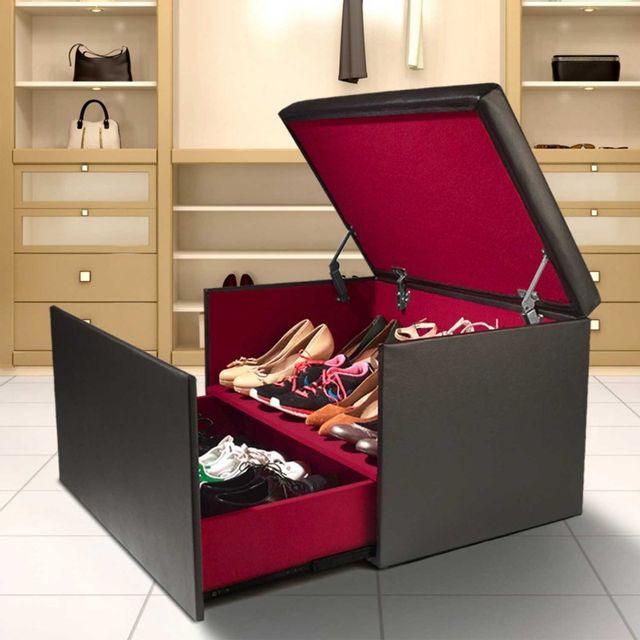 Idmarket - Coffre rangement banquette luxe noir spécial chaussures ...