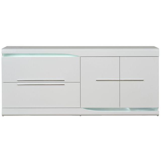 COMFORIUM - Bahut 2 portes 2 tiroirs blanc laqué - pas cher Achat ... 4159ccf9a6b8