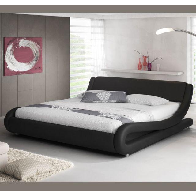 Design Ameublement Lit double Alessia – noir 160x190cm