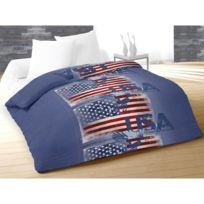 Intemporel - Couette imprimée 220x240 Usa Jeans Bleu