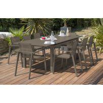 Ensemble table aluminium rallonge couleur sable + 6 fauteuils assortis