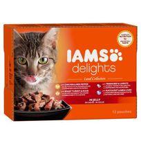 Iams - Delights multibox Saveurs de la Terre en gelée Land Collection Toutes Races - 12x85 g - Pour chat adulte