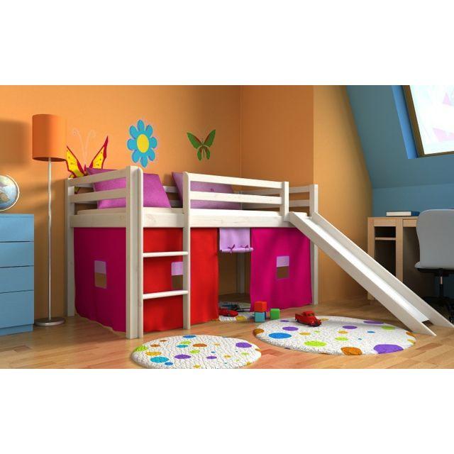 mpc lit fille avec toboggan matelas sommier et rideau pas cher achat vente ensembles de. Black Bedroom Furniture Sets. Home Design Ideas