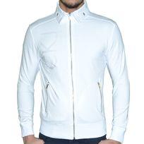Calvin Klein - En Solde Veste Zippee - Col Polo - Homme - Ck9064 - Blanc