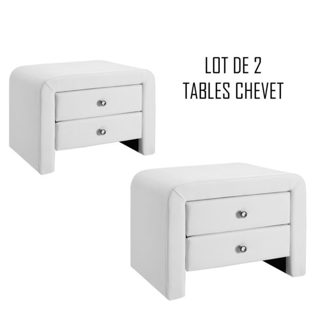 Meubler Design Table chevet design blanc Eva x2