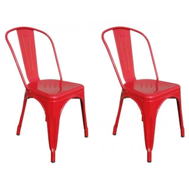 decoshop26 lot de 2 chaises de salle manger style industriel factory m tal rouge cds09001. Black Bedroom Furniture Sets. Home Design Ideas