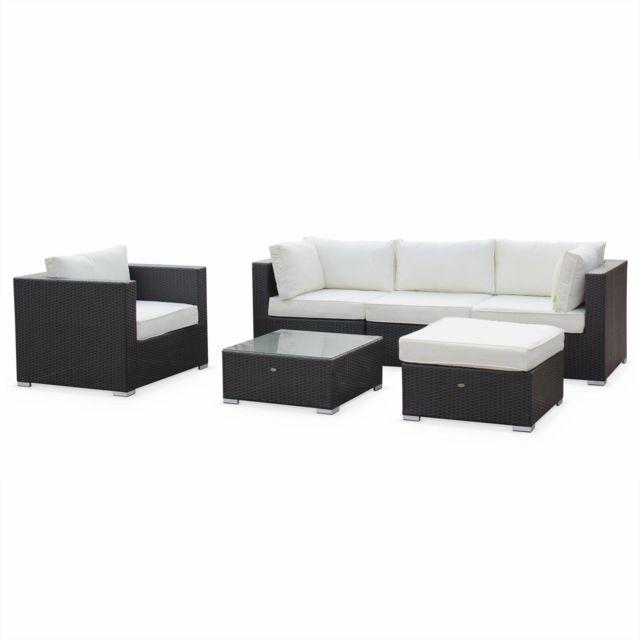 alice 39 s garden caligari noir salon de jardin table en r sine tress e 5 places noir caligari. Black Bedroom Furniture Sets. Home Design Ideas