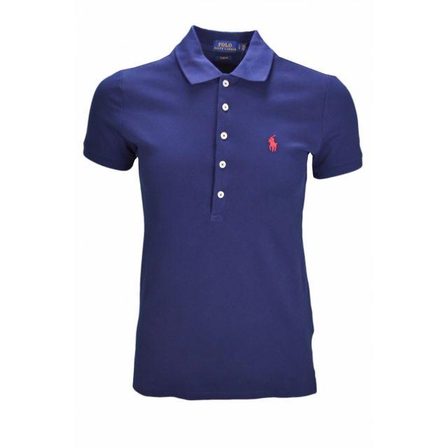 Ralph Lauren - Polo basique bleu marine pour femme - pas cher Achat   Vente  Polo femme - RueDuCommerce 79a49a1f257
