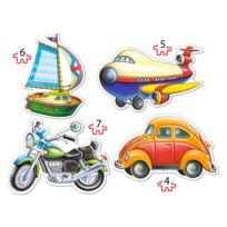 Castor - Puzzles de 4 à 7 pièces : 4 puzzles : Véhicules de transport
