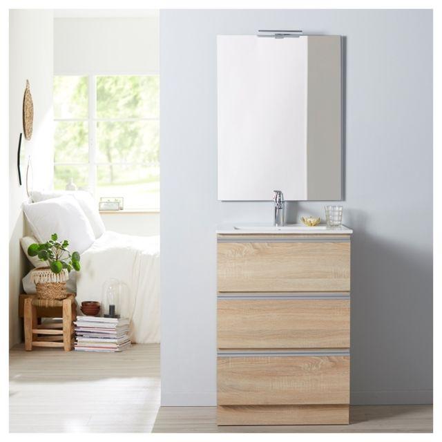 Planetebain soldes meuble de salle de bain poser ch ne oak bordolino 60 cm miroir - Soldes meubles salle de bain ...