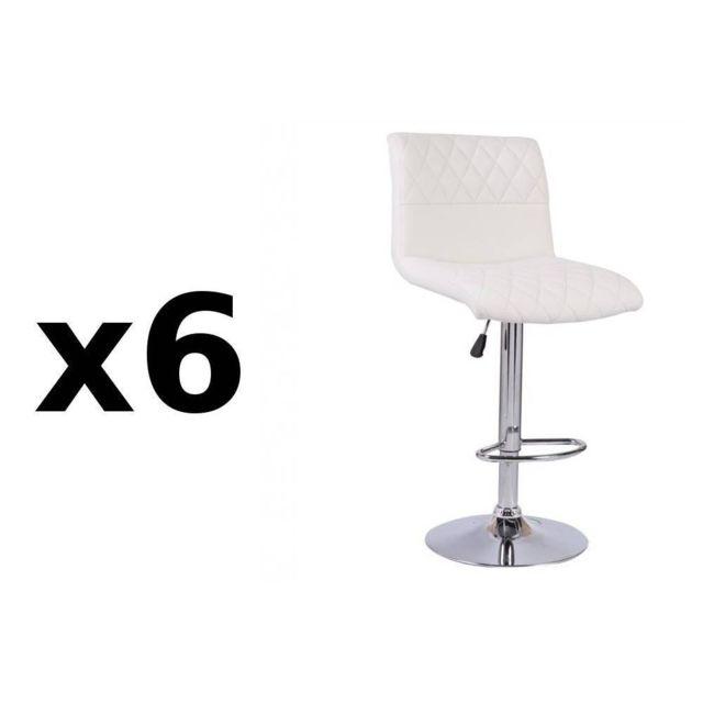 Inside 75 Lot de 6 chaises de Bar Moon en tissu enduit polyuréthane simili façon cuir blanc