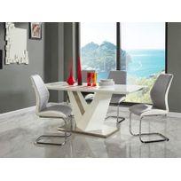 Vente-unique - Table à manger Gildas - Mdf laqué & métal - 6 couverts - Blanc & gris