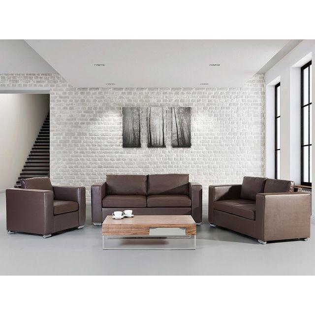 Beliani Canapés et fauteuil - canapés en cuir brun - fauteuil en cuir brun - Helsinki