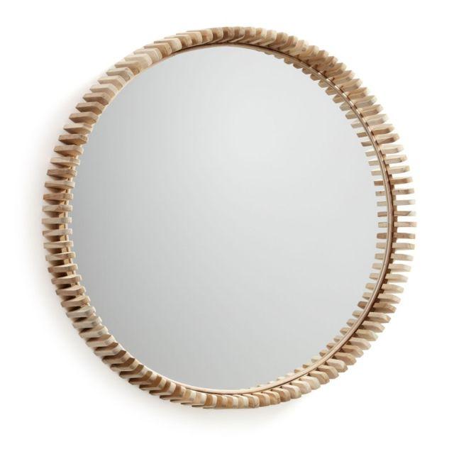 Ma Maison Mes Tendances Miroir rond 85 cm en teck Aurian - L 85 x l 85 x H 13