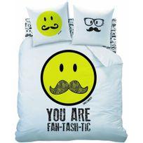 Cti - Housse De Couette Smiley Moustache 240x220 Cm