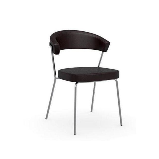 Inside 75 Chaise New York design italienne en tissu enduit polyuréthane simili façon cuir café