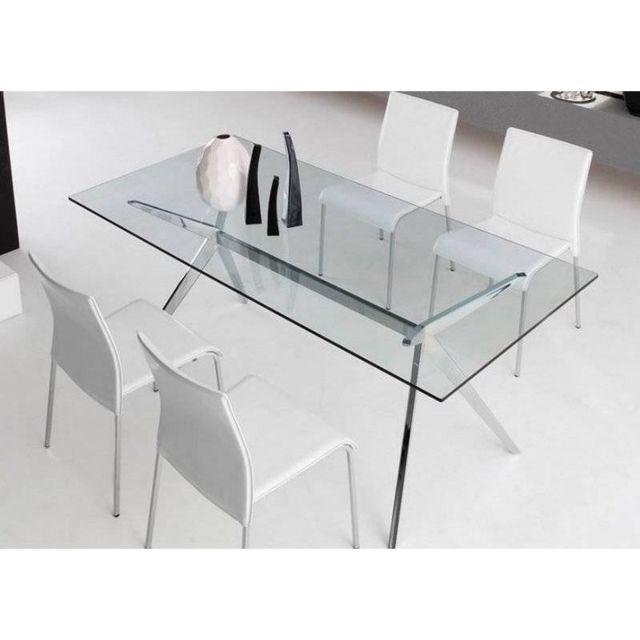 Inside 75 Table repas Seven 160x90 en verre piétement acier chromé