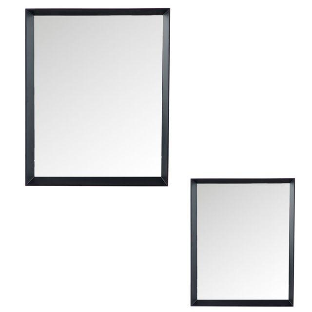 Tousmesmeubles Duo de miroirs rectangulaires Bois noir - Yrel