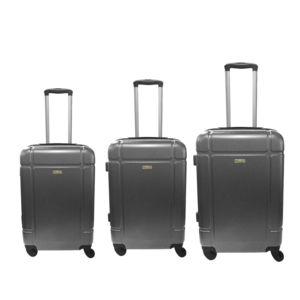 RUE DU COMMERCE - Lot de 3 valises ABS - 4 roues - Gris