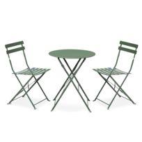 Salon de jardin bistrot pliable - Emilia rond vert de gris - Table Ø60cm  avec deux chaises pliantes, acier thermolaqué